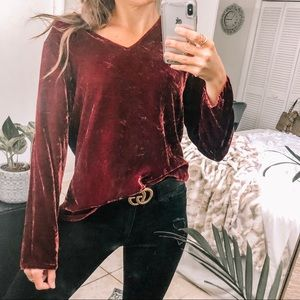 Candy Apple Red Crushed Velvet Flowy Long Sleeve